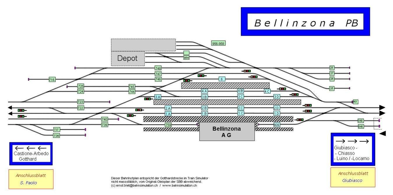 Beispielgleisplan: Bahnhof Bellinzona (CH); Vollbild.