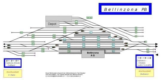 Railroad-Professional Beispielgleisplan: Bahnhof Bellinzona (CH). Klicken für Vollbild.