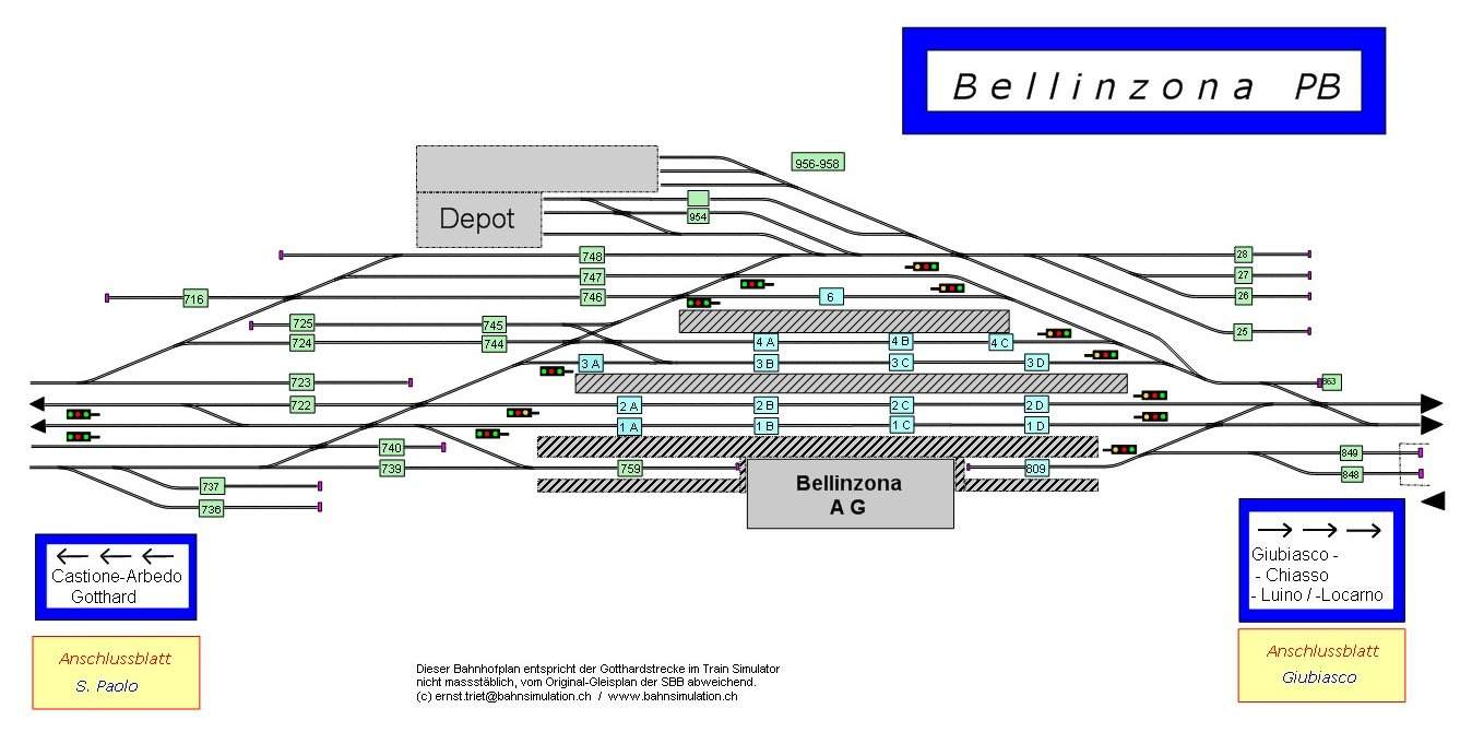 Example track plan: Railway station Bellinzona (CH); Full picture.